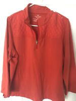 Talbots Woman Petites 2Xp Nwot Orange Quilted  Long Sleeve Zip Top
