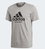 Adidas T Shirt Mens Small New Gray Soccer Badge of Sport Short Sleeve Crew Tee