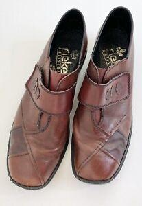 Rieker Red Leather Ladies Shoes, Size 37 small flaw hook & loop closure 3cm heel