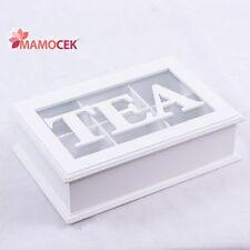 SCATOLA TEA porta bustine THE té tisane cm.24x16 legno bianco 6 scomparti Shabby