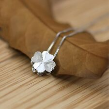 925 Sterling Silver Irish Shamrock Lucky Clover Pendant Charm Box Chain Necklace