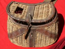 Antique Wicker + Leather Trout Fishing Creel w Original Straps Large Sized