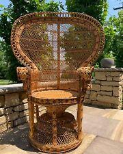 Vintage Wicker Emmanuelle 1970s Peacock Chair