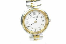 Auth HERMES PROFILE White Dial Date Stainless Steel Quartz Women's Watch HW2603L