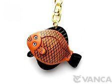 Flat Fish Handmade 3D Leather (L) Keychain/Keyring *Vanca* Made in Japan #56169