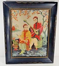 H. Calpini Cherry Blossoms 1930-1940's Japanese Silk Screen Print Serigraph VTG