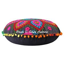 Indian Floral Round Embroidered Floor Seating Cushion Cover Pom Pom Cotton 18x18