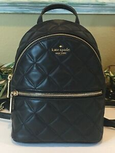 KATE SPADE NATALIA MINI CONVERTIBLE BACKPACK BAG QUILTED BLACK LEATHER $339