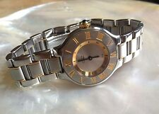 CARTIER MUST DE 21  1340 LADIES 18KT 2 TONE STAINLESS / Y GOLD WATCH 28mm $3495