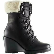 Sorel Women's After Hours Lace Up Shearling Winter Boots Black Size 8.5 US (M)