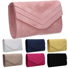 Womens Faux Suede Envelope Ladies Evening Party Prom Smart Jane Clutch Bag