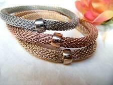 TRE Bracciali elastici silver/gold/red maglia tubolare inserto piatto in tinta