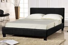 exclusive bed-world 4ft6 black faux leather bed frame