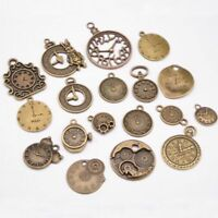 18PCS Mixed Vintage Metal Zinc Alloy Clock Charms for Jewelry Making