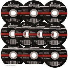 10 x Silverline 115mm Ultra 1mm Very Thin Flat Metal Cutting Discs 4.5″ Angle...