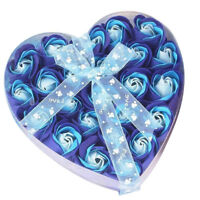Lovely 24 Pcs Red Scented Bath Soap Rose Petal in Heart Box (Blue) M3S4 CL