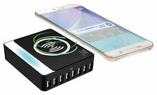 Wireless charger Q7S® Qi enabled with added 8 Multi USB Ports for Android, Apple