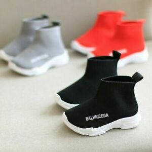 Kids Girls Boys Runners Sport Sock Shoes Knitted Trainers Flat Sneakers Speed
