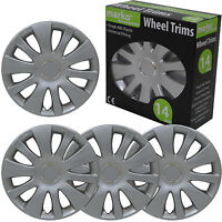 """14"""" WHEEL TRIMS SET OF 4 UNIVERSAL FITTING ALLOY LOOK SILVER ABS PLASTIC COVERS"""