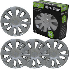 "14"" WHEEL TRIMS SET OF 4 UNIVERSAL FITTING ALLOY LOOK SILVER ABS PLASTIC COVERS"