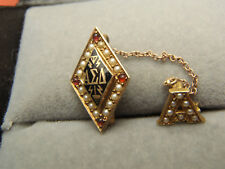Vintage ALPHA DELTA SIGMA - fraternity 14k GOLD PIN Pearls and Rubys Lot 283