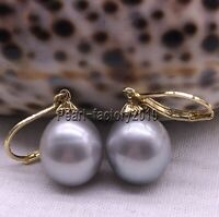 Gray AAA natural 12-13MM  south sea  pearl earrings 14K  GOLD