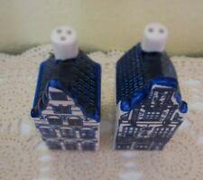 DELFTS Blue Salt & Pepper Shakers MINI Houses Holland Hand Painted