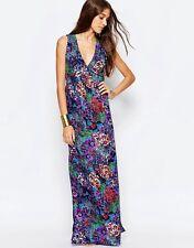 Mela Loves London Floral Open Back Maxi Dress UK12/EU40/US8  z8