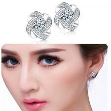 Lady Women Diamond Zircon Crystal Rhinestone Silver Plated Ear Stud Earring