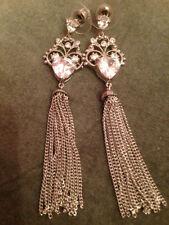 Screw Back (pierced) Cubic Zirconia Heart Costume Earrings