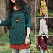 Summer Womens Loose Long Sleeve T-Shirt Cotton & Linen Cool Tops Casual Blouse