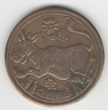 1933 Chicago World's Fair A&P Carnival CHEERIO Cow & Flowers Coin Medal Token