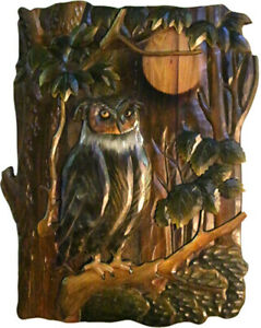 Zeckos Owl Hand Crafted Intarsia Wood Art Wall Hanging 18 X 26 X 2.5 Inches
