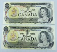1973 Crow Bouey BAX Prefix Replacement Notes Bank of Canada 1$ GEM UNC Lot of 2