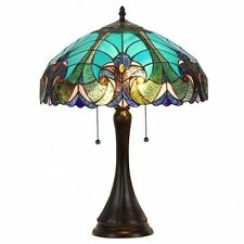 Tiffany-style Table Lamp Victorian 2-light Blue Stained Glass  Turquois Dual Two