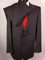 Mani by Giorgio Armani Suit Gray Herringbone Wool Vintage Mens 40L W32