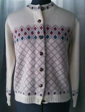 Vintage White Jersild Sweater Cardigan with Mauve/Blue/Grey Patttern
