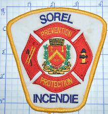 CANADA, SOREL FIRE PREVENTION PROTECTION INCENDIE QUEBEC PATCH