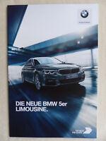 BMW 5er Limousine M550d 530e Typ G30 - Prospekt Brochure 03.2017
