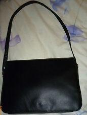 Lady's Triad Medium Black Real Leather Fixed Strap Handbag