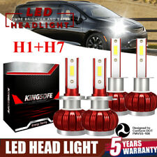 4x Mini H1+H7 LED Headlight Conversion Bulbs Kit 2800W 42000LM Xenon White 6000K