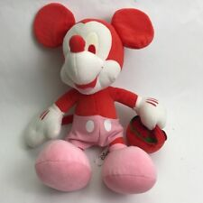 Disney Minnie Mouse Big Ears Pink Red Carrying Basket Strawberry Plush Flaws