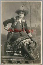 "Cowgirl ""GIRL OF THE GOLDEN WEST"" 1908 Lillian Bell Omaha NE Photo RPPC Postcard"