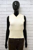 Maglione Donna LEE Taglia L Felpa Pullover Sweater Woman Lana Smanicato Bianco
