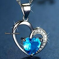 925 Silver Blue Crystal Diamond Heart Necklace Love Xmas Gift For Her Wife Women