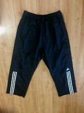 Men's Black Adidas Windbreaker Track Pants Snap Down Pull Away Lined Lrg
