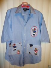 sz S OOAK upcycled Ralph Lauren Teddy Bear Shirt Artists teachers smock apron