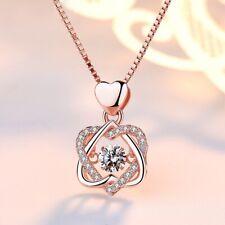 Kette Halskette 925 echt Silber Doppel Herz Ewige Liebe Zirkonia  Strass  NEU