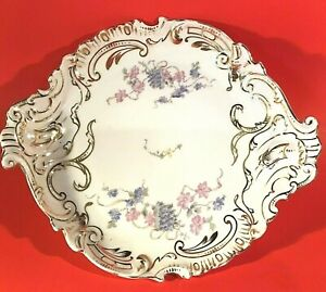 "ANTIQUE PLATE HAND DECORATED 12 1/4"" GOLD DESIGNS L. S. & S. CARLSBAD AUSTRIA"