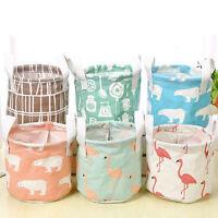 Cotton Linen Flamingo Storage Basket Foldable Hanging Basket Home Organizier